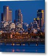 city lights and blue hour at Tel Aviv Metal Print by Ron Shoshani