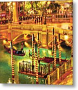 City - Vegas - Venetian - The Venetian At Night Metal Print by Mike Savad