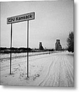 Cn Canadian National Railway Tracks And Grain Silos Kamsack Saskatchewan Canada Metal Print by Joe Fox