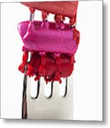 Colored Lipstick On Fork Metal Print by Garry Gay