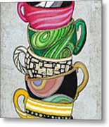 Colorful Coffee Cups Mugs Hot Cuppa Stacked II By Romi And Megan Metal Print by Megan Duncanson