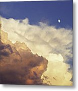 Colorful Orange Magenta Storm Clouds Moon At Sunset Metal Print by Keith Webber Jr
