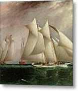 Columbia Leading Dauntless In The Hurricane Cup Race Metal Print by James E Buttersworth