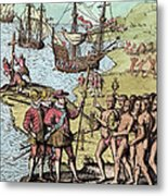 Columbus At Hispaniola Metal Print by London Justin Winsor