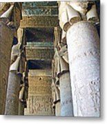 Columns In Temple Of Hathor Near Dendera In Qena-egypt Metal Print by Ruth Hager