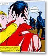 Comic Strip Kiss Metal Print by MGL Studio