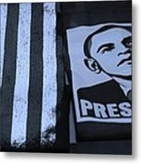 Commercialization Of The President Of The United States In Cyan Metal Print by Rob Hans