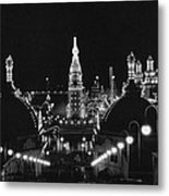 Coney Island - Nighttime Roller Coaster Metal Print by MMG Archives