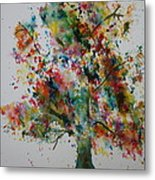 Confetti Tree Metal Print by Patsy Sharpe