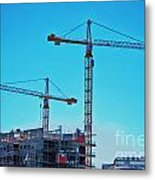 construction cranes HDR Metal Print by Antony McAulay