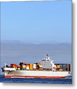 Container Ship At Sea Metal Print by Olivier Le Queinec