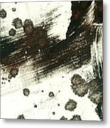 Contemplation In Black And White Abstract Art Metal Print by Ann Powell