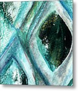 Contemporary Abstract- Teal Drops Metal Print by Linda Woods