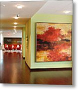 Contemporary Lake In Red Metal Print by Sheila Elsea