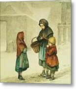 Conversation In The Snow Metal Print by Pierre Edouard Frere