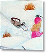 Cool  Winter Friend - Snowman - Fun Metal Print by Barbara Griffin