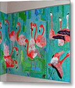 Corner Flamingos Metal Print by Vicky Tarcau