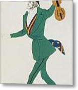 Costume Design For Paganini In The Enchanted Night Metal Print by Leon Bakst