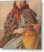 Cottage Girl Seated With A Pitcher Metal Print by William Henry Hunt