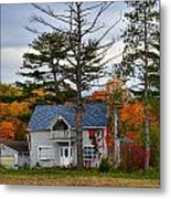 Country Cottage In Autumn Metal Print by Julie Dant