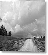 Country Road With Stormy Sky In Black And White Metal Print by Julie Magers Soulen