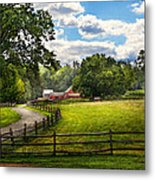 Country - The Pasture  Metal Print by Mike Savad