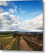 Countryside Landscape Path Leading Through Fields Towards Dramat Metal Print by Matthew Gibson
