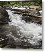 Covered Bridge And Waterfall Metal Print by Edward Fielding