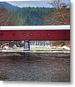 Covered Bridge Of West Cornwall-winter Panorama Metal Print by Thomas Schoeller