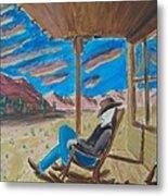 Cowboy Sitting In Chair At Sundown Metal Print by John Lyes