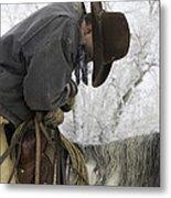 Cowboy Sleeps In The Saddle Metal Print by Carol Walker