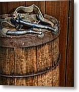 Cowboy Spurs On Wooden Barrel Metal Print by Paul Ward