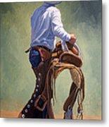 Cowboy With Saddle Metal Print by Randy Follis