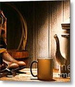 Cowboy's Coffee Break Metal Print by Olivier Le Queinec