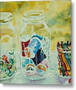 Craft Room Pickles Metal Print by Jenny Armitage