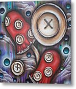 Crazy Button Mushrooms Metal Print by Krystyna Spink
