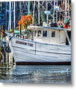 Crimson Tide In Harbor Metal Print by Michael Thomas