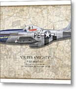Cripes A Mighty P-51 Mustang - Map Background Metal Print by Craig Tinder