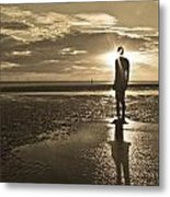 Crosby Beach Sepia Sunset Metal Print by Paul Madden