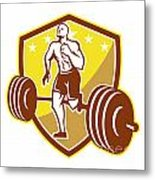 Crossfit Athlete Runner Barbell Shield Retro Metal Print by Aloysius Patrimonio