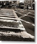 Crosswalk In New York City Metal Print by Dan Sproul