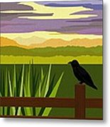 Crow In The Corn Field Metal Print by Val Arie