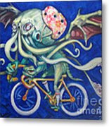 Cthulhu On A Bicycle Metal Print by Ellen Marcus