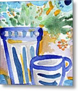 Cups And Flowers-  Watercolor Floral Painting Metal Print by Linda Woods