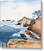 Cypress And Seagulls Metal Print by Asha Carolyn Young