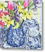 Daffodils Tulips And Irises With Blue Antique Pots  Metal Print by Joan Thewsey