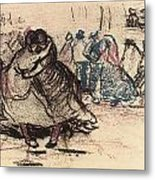 Dance Hall With Dancing Women Metal Print by Vincent Van Gogh