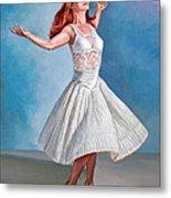 Dancer In White Metal Print by Paul Krapf