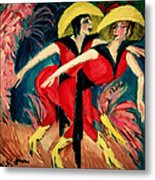 Dancers In Red Metal Print by Ernst Ludwig Kirchner