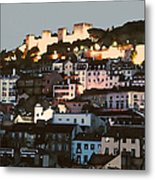 Dawn At St. George Castle Lisbon Metal Print by Linda  Parker